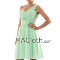 One Shoulder Sweetheart Short Chiffon Mint Bridesmaid Formal Gown Cocktail Party Dress