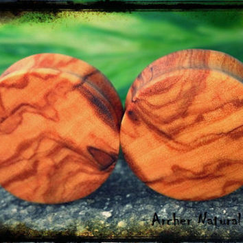"""All Sizes - African Olivewood Ear Plugs Double Flared (8G - 1&7/8"""")"""