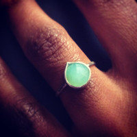 Faceted Peruvian Opal Pear Shaped Gemstone & Sterling Silver Stacking Ring