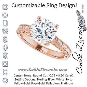Cubic Zirconia Engagement Ring- The Lina (Customizable Round Cut Design with Round Band Accents and Three-sided Filigree Engraving)