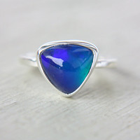 Blue Opal Ring Sterling Silver Natural Ethiopian Triangle Opal Ring Size 8-8,5 Silversmithed October Birthstone Ring