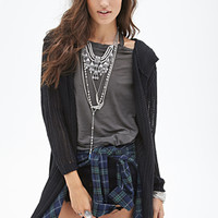 FOREVER 21 Hooded Open-Knit Cardigan