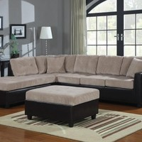 3F7503015PG - Perry Beige/Chocolate Casual Style Corduroy Sectional Sofa - Furniture2Go