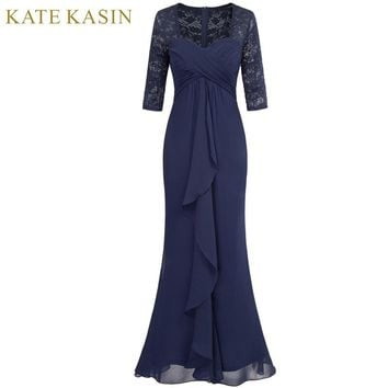 Kate Kasin Navy Blue Evening Dress Long Party Gown Sexy Floor Length Half Sleeve Lace Prom Dresses 2018 Ruched Formal Dress