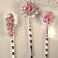 Pink Crystal Bridesmaid Hair Pins, Dainty Silver Vintage Dusty Pink Hair Clips Set 3 OOAK Bridal Jewelry Wedding Gifts Bobby, Country Garden