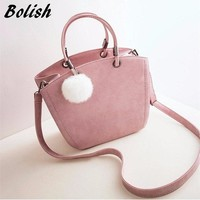 Bolish Fashion Nubcuk Leather Women Shoulder Bag Winter Women Handbag Suede Hairball Female Messenger Bag For Crossbody Bag