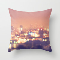 Everyone's a Star. Los Angeles skyline at night photograph. Throw Pillow by Myan Soffia
