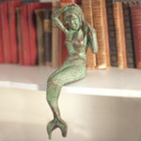 Antique Green Cast Iron Mermaid   Candy's Cottage
