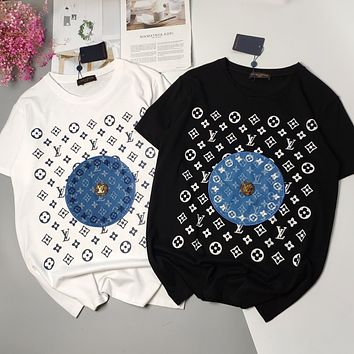 LV New fashion monogram print women couple top t-shirt