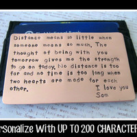 Wallet Insert Card, Hand Stamped Copper 7th Year Anniversary Gift Men Groom Husband Boyfriend - Up to 200 Characters Stamped