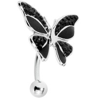 Black Enamel Gem Paved Top Mount Butterfly Belly Ring | Body Candy Body Jewelry