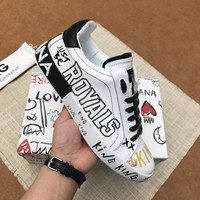 Dolce&Gabbana DG White Black King Royals Print Low-Top Sneakers - Best Deal Online