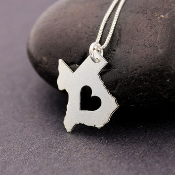 Small Texas necklace sterling silver Love Texas state necklace with heart comes with Box chain - i heart Texas