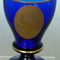 623023 Cobalt Stem W/Oval Panel Gold Lady W Hair Up In A Bun, Gold
