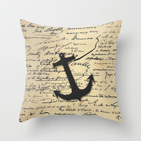 Vintage gray retro nautical anchor marine paper Throw Pillow by Girly Trend