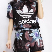 Adidas Originals Flowers Print T-shirt Shorts Two pieces