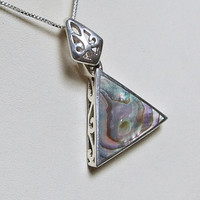 Vintage Abalone Sterling Silver Triangle Pendant, Genuine Abalone Inlay, Geometric, Lacy Back, Intricate Bail, 925 Sterling Silver, Organic