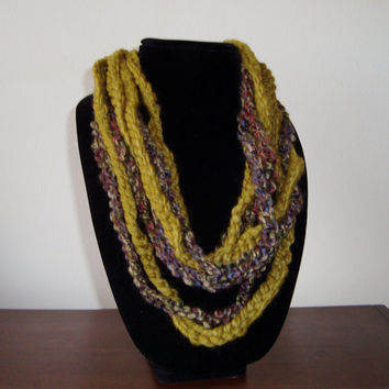 "Brown and White ""Florita"": Fiber Art Scarflette - Hand Crochet soft necklace - Infinity Scarf - Fiber Art Design - Spft  Yarn"