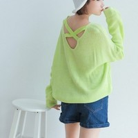 White Fashion Fresh All-Match Candy Color Loose Leisure Pullover Sweat