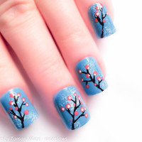 Japanese Cherry Blossom Fake Nails Hand Painted Nail by niceclaws