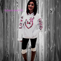 white Love Country pink real tree  Heart Hoodie