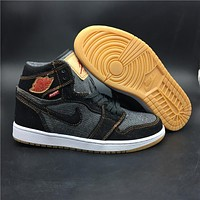 Levis x Air Jordan 1 Black Denim Sport Sneaker