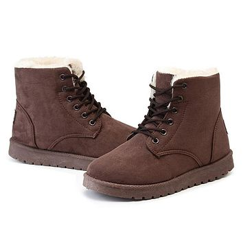 Brown Suede Winter Boots