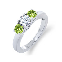 1.35 Ct Round White Zirconia Green Peridot 925 Sterling Silver Ring