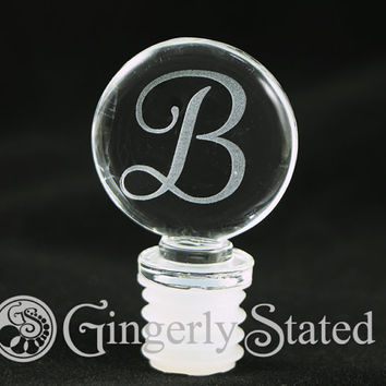 Personalized Glass Wine Bottle Stopper - Vinyl or Etched