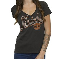 NBA New York Knicks Vintage V-Neck Tee - Women's Collections - NBA - All - Junk Food Clothing