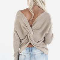 Break The Ice Taupe Knot Back Sweater