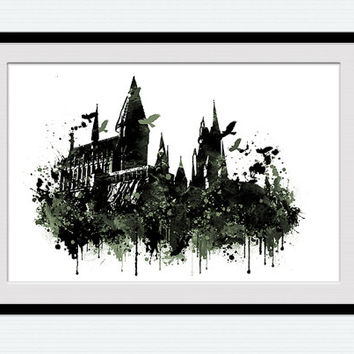 Hogwarts print, Hogwarts watercolor poster, Harry Potter castle, fantasy print men gift, office wall decor, Harry Potter  poster  W68