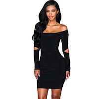 Bodycon Long Sleeve Sexy Dress Club Wear Women Off The Shoulde Party Mini Dresses Trending Products