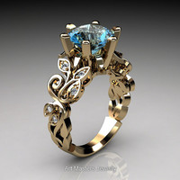 Nature Inspired 14K Yellow Gold 3.0 Ct Blue Topaz Diamond Leaf and Vine Crown Solitaire Ring RD101-14KYGDBT