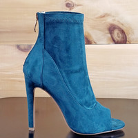 "Cape Robbin Teal Green Peacock Ankle Boots - 4.5"" Heels"