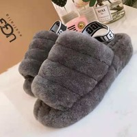 UGG Fluff Yeah Winter Hight Quality Fashionable Women Cute Slippers Sandals Shoes Grey