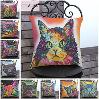 Manufacturers Direct Supply Colorful Cat Printing Short Soft Plush Decorative Throw Pillow Cushion For Kids Gift