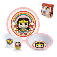 Wonder Woman Plate, Bowl And Cup 3-Piece Kids Set