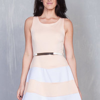 Cheap Trendy White And Peach Flare Dress in DRESSES