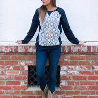 Just In Lace Top, Navy/Ivory