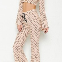 My Independence Beige Brown Geometric Long Bell Sleeve Lace Up Crop Top Wide Leg Flare Pants Two Piece Set
