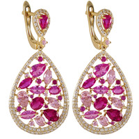 Gold Plated Sterling Silver Teardrop Earrings With White CZ And Synthetic Ruby