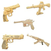3D wooden firearms jigsaw puzzle wooden gun  jigsaw puzzle toy educational wooden toys for DIY handmade puzzles Weapon series