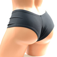 Black Spandex Knit Ultra Cheeky Booty Shorts