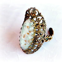 Art Glass Cocktail Ring, Stamped Brass Filigree, Aqua and Gold Glass, Gold, Vintage Fashion, Costume Jewelry, Adjustable Size