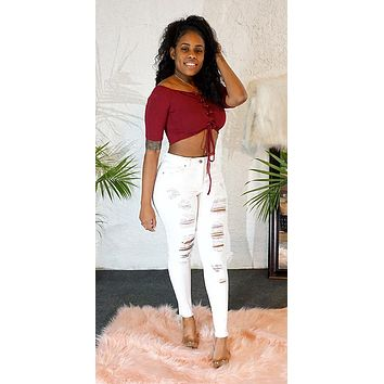A Little Sassy Ripped Jeans - White