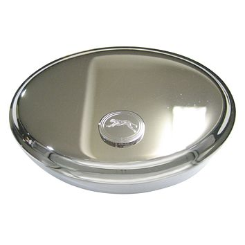 Silver Toned Etched Oval Running Cheetah Oval Trinket Jewelry Box