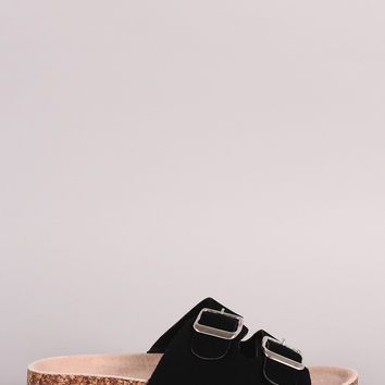 Bamboo Double Buckle Cork Footbed Sandal