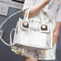 Transparent Women Handbags Purse Solid Casual Tote Shoulder Bag Jelly Composite Bags Teenager Girls Small Beach Bags 2017 Bolsa