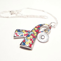 Awareness Necklace, Autism Awareness, Awareness Ribbon Necklace (A10)